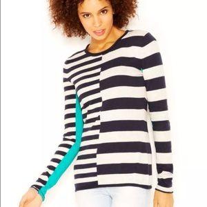 RACHEL Rachel Roy Blue Striped Color Block Shirt